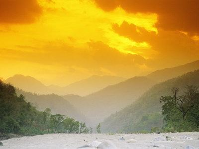 Sunset with Mountains and Trees over the Karnali River in Nepal