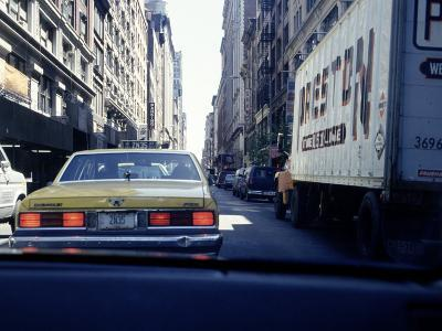 Yellow Taxi in Traffic, NYC, NY