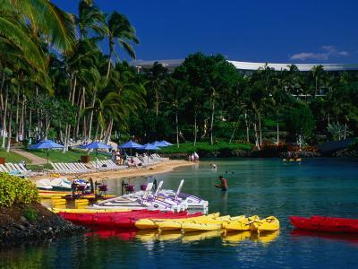 Canoes and Pedal-Boats Lined Up on the Shore of a Lagoon at the Hilton Waikoloa, Hawaii, USA