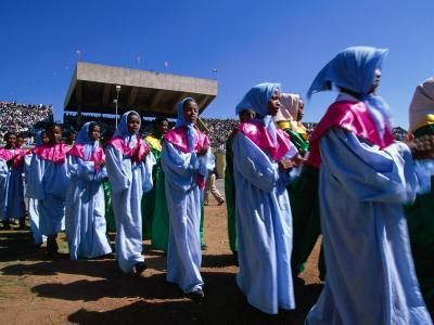 Female Dancers Celebrating Festival of Meskal, Asmara, Eritrea