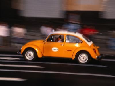 Speeding Taxi on Paseo De La Reforma, Mexico City, Mexico