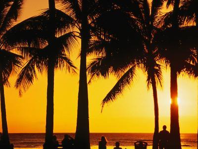 A Waikiki Winter Sunset, Honolulu, Oahu, Hawaii, USA