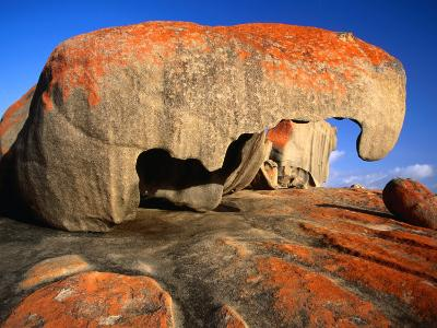 Granite Corestones Covered in Orange Lichen Flinders Chase National Park, Kangaroo Island