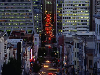 Downtown Traffic and Base of Transamerica Pyramid at Left, San Francisco, California, USA
