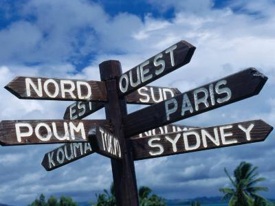 Sign Showing Directions to Other Cities in World, Koumac, New Caledonia