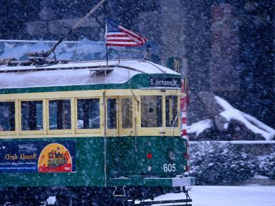 Tram in Snow on Alaskan Way, Seattle, Washington, USA