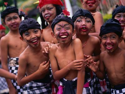 Young Boys from the Ubud Area Have Faces Painted for a School Competition, Ubud, Indonesia