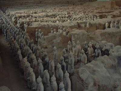 Terra-Cotta Army near 2,200-year-old Tomb of China's 1st Emperor, Qin Shi Huang, near City of Xian