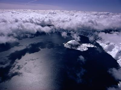 Aerial View of Crater Lake and Wizard Island