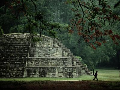 A Spider-Monkey Strolls Past a Small Pyramid
