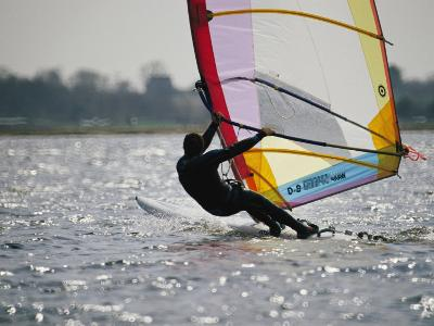 A Windsurfer Catches a Ride off the Coast of Massachusetts