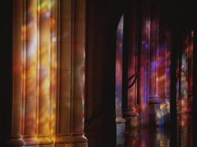 Rich Color Projected from Stained Glass Windows onto Columns