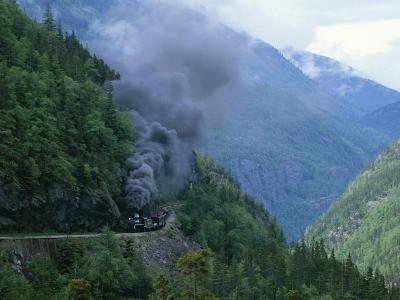 Smoke Billows from a Train on White Pass and Yukon Route Railroad