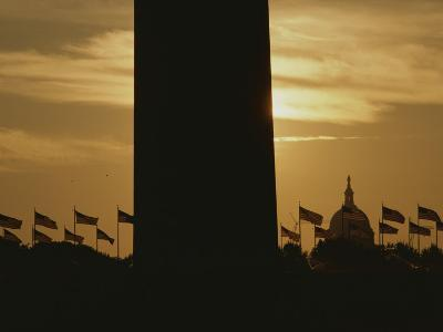A Twilight View of American Flags Flying at the Washington Monument