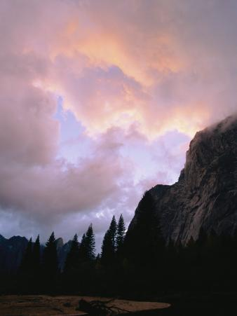 Twilight View of Clouds Above the Merced River