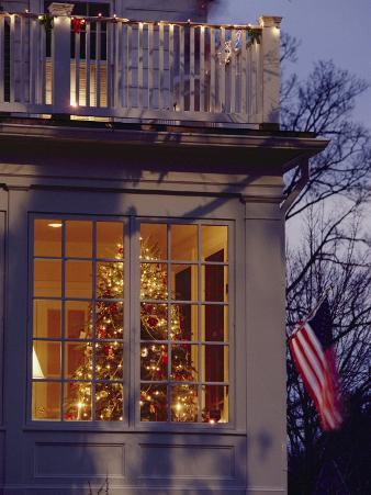 A View of a Christmas Tree Through a Window