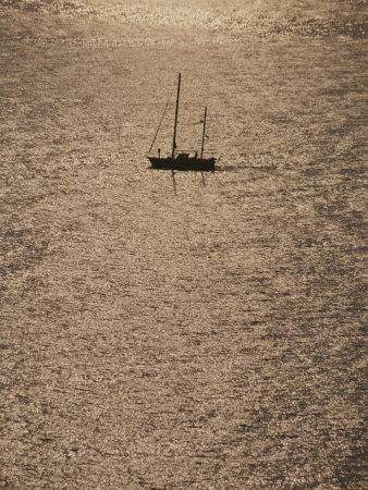 A Silhouetted Sailboat on Sun Reflected Water, Cinque Terre