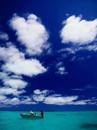 Tourists in Boat on Aitutaki Lagoon, Cook Islands, Pacific