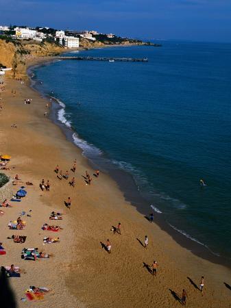 People on Beach, Albufeira, Algarve, Portugal,
