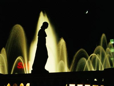 Montjuic Fountain by Night, Barcelona, Catalonia, Spain