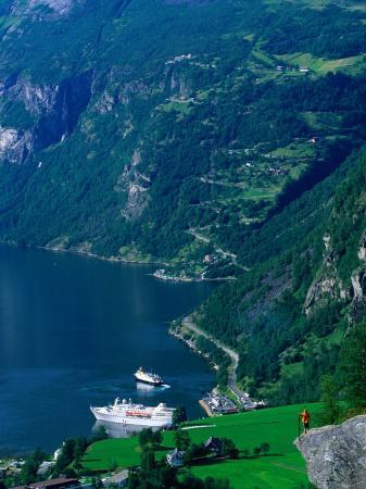 Cruiseship in the Geirangerford, Geiranger, Norway