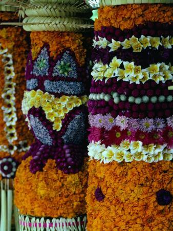 Intricate Flower Decorations, Opening of the Bali Arts Festival, Indonesia