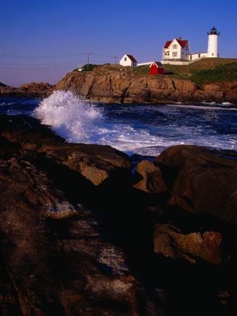 Surf Crashing on York Beach with Nubble Lighthouse in Background, Cape Neddick, USA