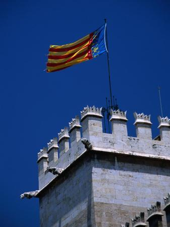 Flag Flies Over the 15th Century Lonja Silk and Commodity Market, Valencia, Spain