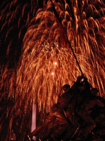 Fourth of July Fireworks Illuminate the Sky Behind the Iwo Jima Monument