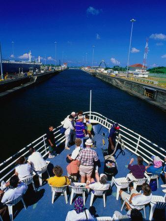 Overhead View of Boat Cruising Through the Gatun Lock, Panama Canal, Panama City, Panama