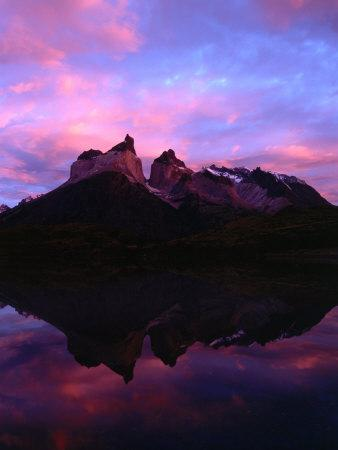 Cuernos Del Paine and Reflection at Dawn, Torres Del Paine National Park, Chile