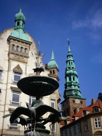 The Stork Fountain with Buildings in Background, Copenhagen, Denmark