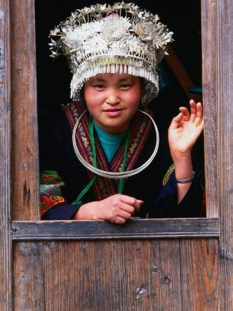 Shidong Miao Girl Wearing Silver Head Dress Looking Through a Window, Kaili, China