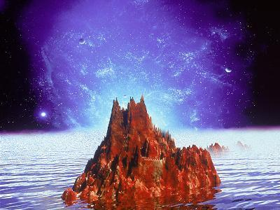 Mountain and Ocean in Space