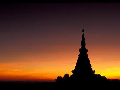 Sunset Sillouhette of Buddhist Temple, Thailand