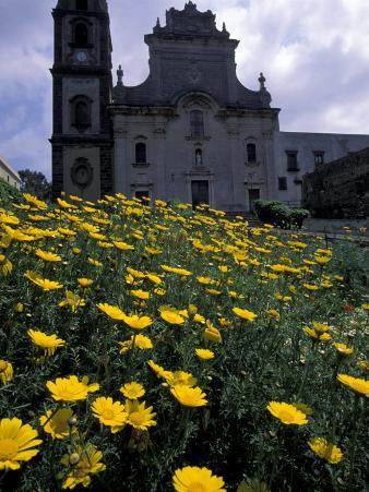 Baroque Style Cathedral and Yellow Daisies, Lipari, Sicily, Italy