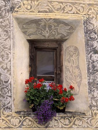 Architectural Detail and House Window, Guarda, Switzerland