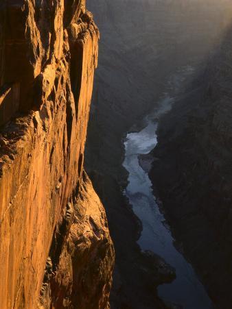 Sandstone Cliff and Colorado River at Sunrise, Toroweap, Grand Canyon National Park, Arizona, USA