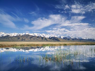 Ruby Mountains and Slough along Franklin Lake, UX Ranch, Great Basin, Nevada, USA