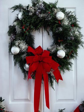 Beautiful Christmas Wreath on Door