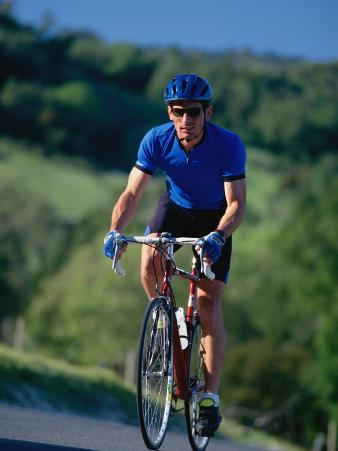 Bicyclist on Road, Napa Valley, CA