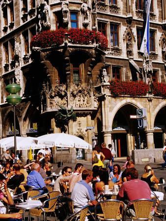 Open-Air Cafe on Marienplatz Beside Neues Rathaus (New Town Hall), Munich, Germany