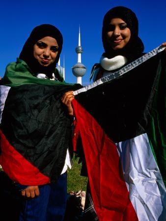 Girls with Kuwaiti Flags to Greet Amir of Kuwait, Kuwait