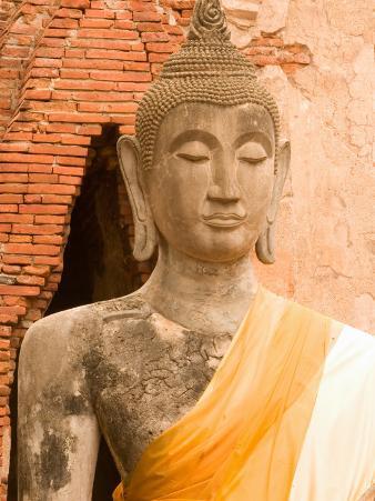 Buddha Image at Ayuthaya, Yai Chai Mongkhon, Siam, Thailand