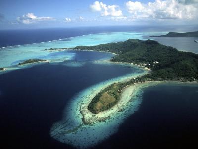 Aerial of Beautiful Bora Bora, Tahiti, French Polynesia