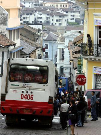 Large Bus in Narrow Street, Quito, Ecuador