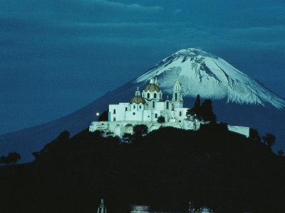 Volcano Stands Beyond a Church Built on a Huge Pyramid, Cholula, Pueblo State, Mexico