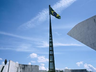 Brazilian Flag Fluttering, National Congress Building, Brasilia, Brazil