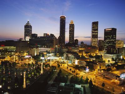 Buildings Lit Up at Sunset, Centennial Olympic Park, Atlanta, Georgia, USA