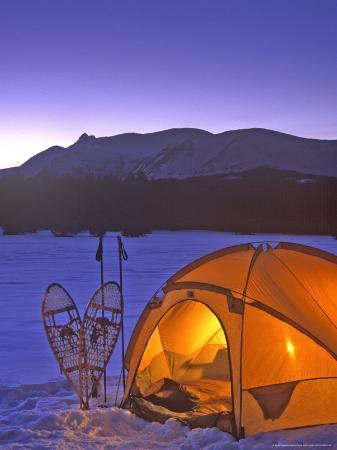 Winter Camping with Snowshoes, East Glacier, Montana, USA